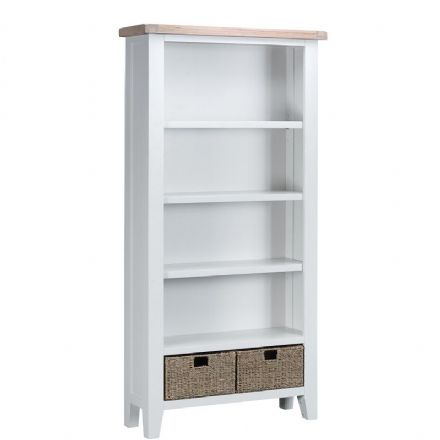 Toulouse White Large Wide Bookcase
